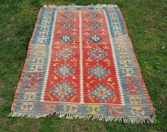 3x5 Turkish kilim Red and Blue vintage Turkish kilim rug