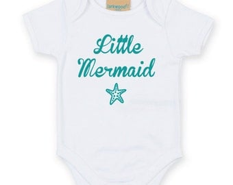 Little Mermaid Baby Grow. Cute Mermaid Baby Onesie. Baby Mermaid Gift. Baby Vest. Newborn Baby Shower Gift.