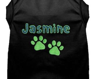 Personalized Dog Shirt - Custom Dog Shirt - Dog Paw Print Name T Shirt - Custom Name Dog Tee - Puppy Clothing - Embroidered Name Dog Shirt