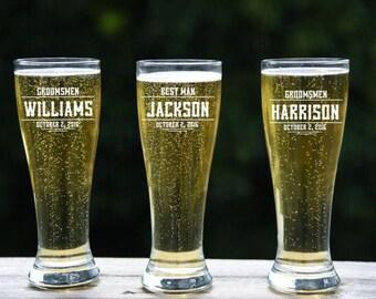 Pilsner Beer Glass, Groomsmen Beer, Custom Beer Glass, Wedding Party Gift, Personalized Pilsner  Glasses, Etched Beer Glass, Suncoast Laser