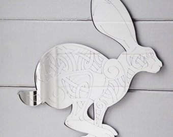 Celtic Leaping Hare Engraved Acrylic Mirror