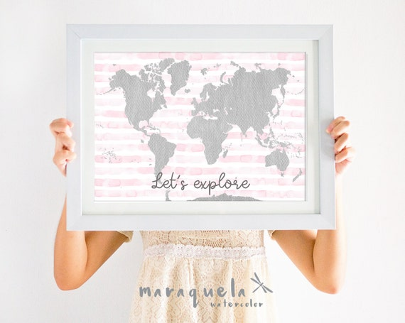 WORLDMAP illustration WATERCOLOR,light pink stripes and gray map,text 'Let's explore', girl baby shower,nursery decor,kids room,lovely quote
