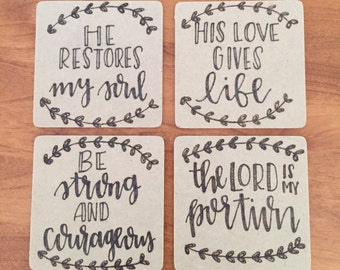 Wood Burned Bible Coasters, Pack of 4