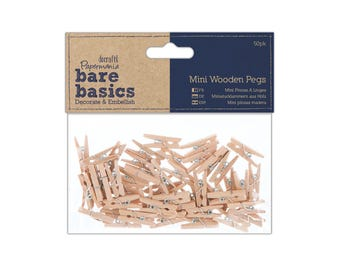 Mini Wooden Pegs - 50 pack
