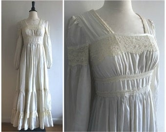 Vintage 1970s Gunne Sax by Jessica San Francisco Ivory White Long Maxi Wedding Prairie Lace Dress - Sz. Small