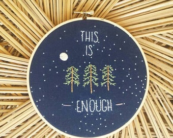 Hoop art embroidery ~ simple forest tree design ~ this is enough