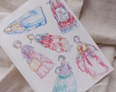 Korean Hanbok Sticker Sheet - Watercolor Illustrations, inspired by traditional clothes of Korea, Korean historical drama, K-Drama, Gisaeng