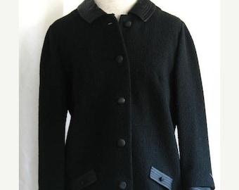 On Sale Vintage 1960's Black Wool Boucle Knit Suit Jacket