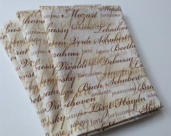 Classical Music, Symphony, 12x12 Cotton Cloth Napkins, Set of 6