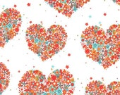 Michael Miller Flowers Aplenty Collection - Hearts and Flowers, 100% cotton