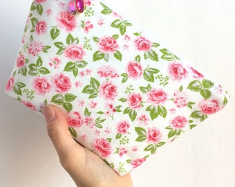 Floral Makeup Bag - Gift for Her - Small Makeup Bag - Bridal Bag - Pink Floral Cosmetic Bag - Pink Makeup Bag - Makeup Pouch