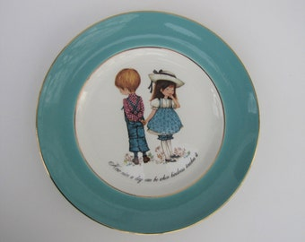 Vintage Staffordshire Petticoats and Pantaloons Ceramic Collectors Plate for Display 1980s Cute Kitsch Retro Boy and Girl Sweet Gift Pretty