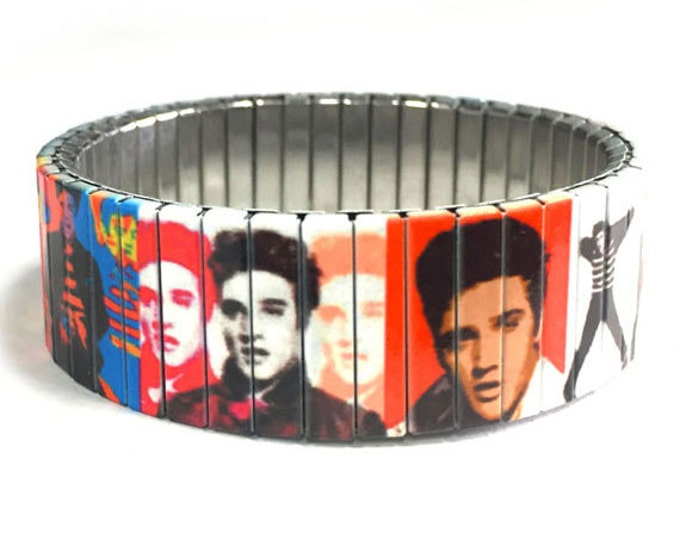 Bracelet-rock and roll-king-Stainless Steel-Repurpose Watch Band-Stretch-Wrist Band-Sublimation-Music-50's-60's-gift for friends
