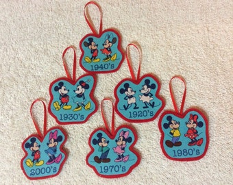 Mickey and Minnie through the years-set of 6 Ornaments!!!