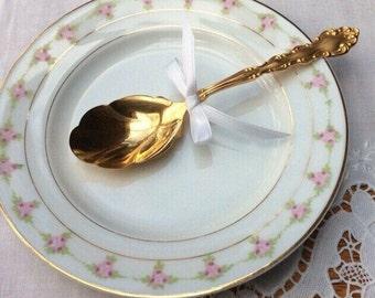 Vintage Limoges China Dessert Plate, Pink Roses