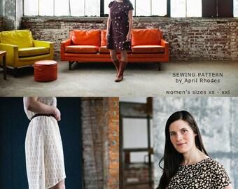 Staple Dress-April Rhodes-Elastic Waist Dress-Knee Length Dress-Drop Hem Dress-Womans Dress Pattern-Sewing Pattern-Paper Pattern