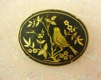 Damascene Brooch, Vintage Damascene Brooch, Gold Black Brooch, Spanish Brooch, Spanish Toledo Brooch