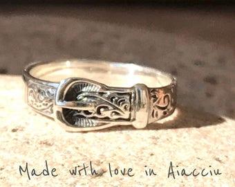 Ring 925 sterling silver western belt