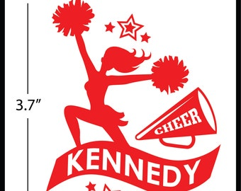 CHEER Decal - Personalized.  Your choice of colour.  Set of TWO stickers.