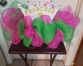Princess birthday headstone saddle wreath