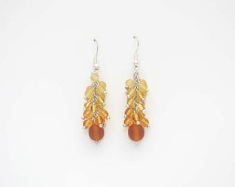 Amber color crystal earrings