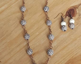 Handmade Clay Pendant w/Copper Chain Necklace and Earrings Set