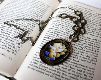 RESERVED Beauty and the Beast Rose and patchwork chain charm necklace handmade salvaged vintage jewelry dejavu vintage
