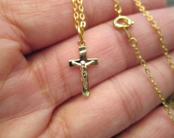 "Small Gold CRUCIFIX with 18"" chain> 1970's vintage> new old stock>>nice detail>> Small and Dainty"