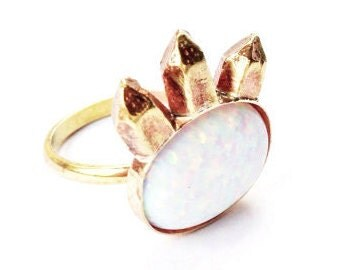 Large Opal Crystal Cluster Ring
