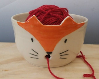 Yarn Bowl-Red Fox Face by misunrie-Ready to Ship