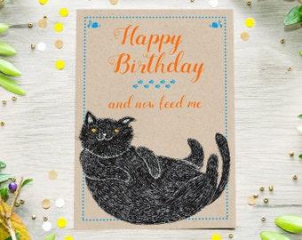 Lustige Geburtstags Katzen Karte, Sofort Download, Illustration, Last Minute Geschenk