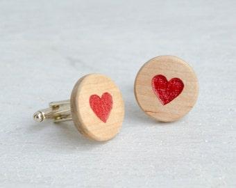 Cadeau Saint-Valentin coeur rouge bois boutons de manchette homme mode élégant accessoires moderne de boutons de manchette pour homme