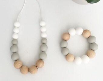 ELLIE collier / / dentition / / collier de dentition / / collier d'allaitement / / billes de Silicone / / nourriture 100 % Silicone alimentaire / moderne / bijoux