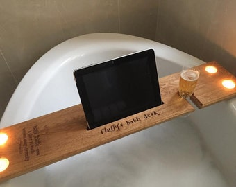 Customised/personalised bath shelf/desk/caddy/tray in Prime European White Oak. Gift  with Prosecco & Wine glass holder iPad iPhone holder