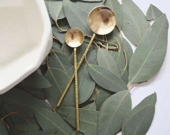 FREE SHIPPING - Hammered Brass Spoons