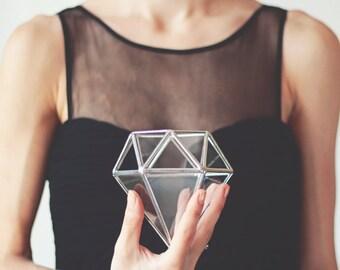 Geometrische Hochzeit Ring-Box, Hochzeit Band Box, Verlobungsring-Kasten, Glasterrarium Diamant, Ring Träger, Ringkissen, Silber-Kasten