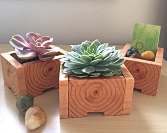 Rustic wood grain reclaimed planter boxes/ rustic chic wedding favor/ party favor/ set of 2 from. Vancouver. Canada