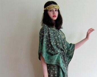 Vintage 1970s India Silk Green Caftan Dress / 70s Hippie Handmade Muu Muu Maxi Dress