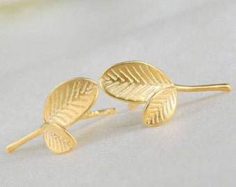 Boucles d'oreilles Leaf argent 925 feuille plaqué or puces femme nature