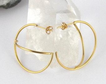 Gold Hoop Earrings. Space Earrings. Asymmetric Earrings. Handmade Jewellery. Bohemian Jewelry. Statment Earrings. Constellation.