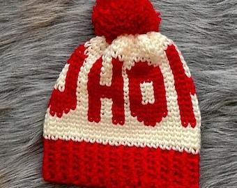 READY TO SHIP Adult Sized Ho Ho Ho Crochet Chunky Santa Hat   Crochet Christmas Hat   Christmas Hat