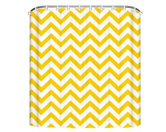 Fabric Shower Curtain, Chevron Shower Curtain, Chevron Fabric Shower Curtain, Zig Zag Shower Curtain, Yellow, Red, Green, Soft Pink, Pink