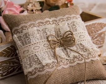 Wedding Ring Bearer Pillow, Burlap and Lace Ring Bearer Pillow, Rustic Ring Pillow, Cottage Chic Pillow, Burlap Wedding Ring Pillow