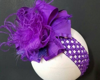 Solid Purple Over The Top Boutique Hairbow Ostrich Feather