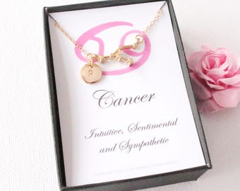 Gold cancer  necklace,  cancer gift, cancer pendant, cancer star sign, zodiac sign necklace, astrology necklace, christmas gift