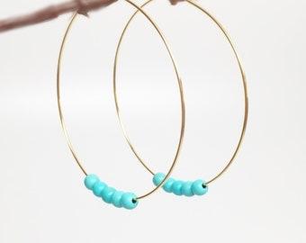 Turquoise hoop earrings, gold hoop earrings, gemstone hoops, dangle hoop earrings, gemstone hoop earrings, thin hoop, big thin hoops, hoops
