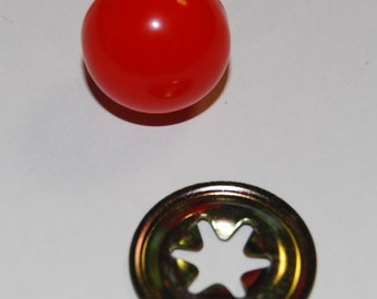 12mm Red Ball Noses With Metal Back Noses - Animal/Cat/Clown - Ball Safety Nose for Soft Toys & Teddy Bears