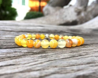 6mm Yellow Agate Stone Bracelet, Stone bracelets, Beaded bracelets, Beadwork bracelets, Stretch Bracelet, Gemstone Bracelet, Women Bracelet