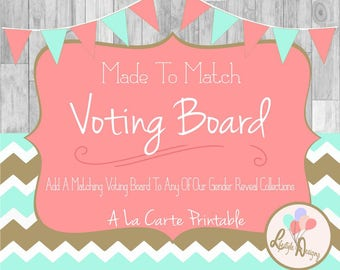 Matching Gender Reveal Voting Board - Gender Reveal Party - Made To Match