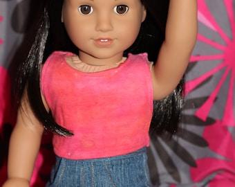 "Orange & Pink Cropped Tie Dye Tank for 18"" dolls!"